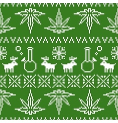 Pixel art christmas weed seamless vector