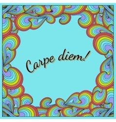 Positive postcard with Carpe diem and rainbow vector