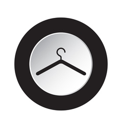 Round black and white button - clothes hanger icon vector