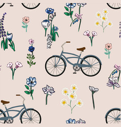 seamless composition bicycle meadow flowers pink vector image