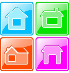 set colorful icons with cottage vector image