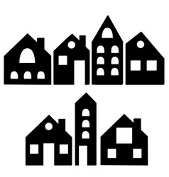 set isolated black house silhouettes vector image