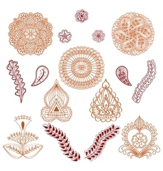 Set of elements in the ethnic style of drawing vector