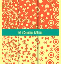 Set of seamless patterns circles squares and dots vector