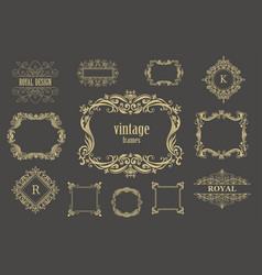 Set of vintage floral frames and line vector
