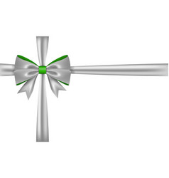 Silver gift bow ribbon bow tie isolated on white vector