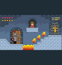 sir boy inside castle with fire character and vector image