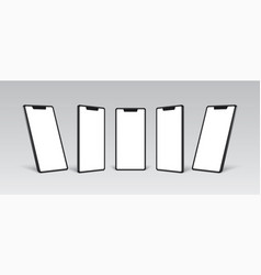 smartphone mockup black frame with white blank vector image