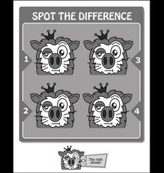 Spot the difference black lion vector