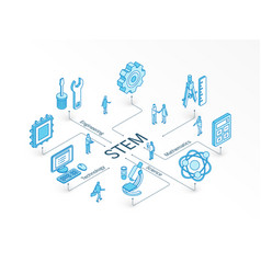 Stem isometric concept connected line 3d icons vector
