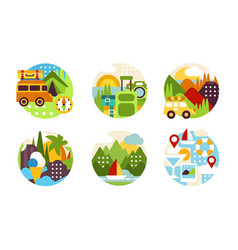 summer travelling icons collection natural summer vector image