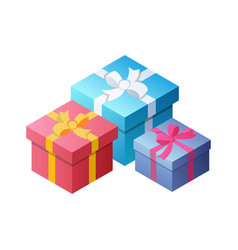three colorful gifts with bows ribbons vector image
