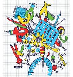 Tools doodle on paper vector image