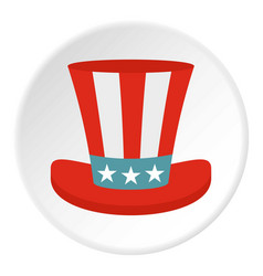 Top hat in the usa flag colors icon circle vector