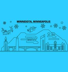 United states minneapolis winter holidays skyline vector