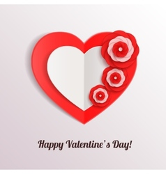 Valentines day background with paper hearts and vector image