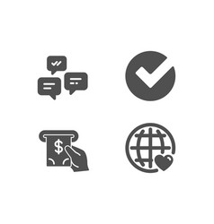 Verify atm service and chat messages icons vector