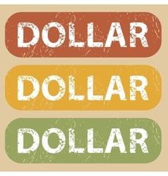 Vintage DOLLAR stamp set vector image