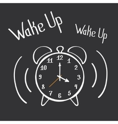 Wake Up Alarm Clock Lettering Poster Hand Drawn vector image