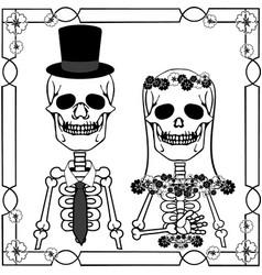 Wedding skulls with flourishes vector