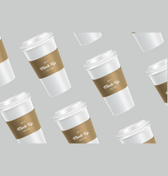 White pattern coffee cup mockup on background vector