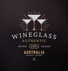 Wine Glasses Vintage Retro Design Elements for vector image