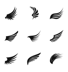 Wings of bird icons set simple style vector