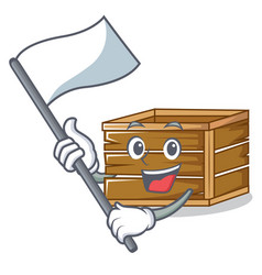 With flag crate mascot cartoon style vector