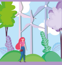 woman in field turbines wind energy ecology vector image
