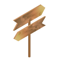 wood direction signboard icon isometric style vector image