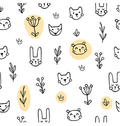 Yellow cute animals vector