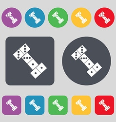 Domino icon sign a set of 12 colored buttons flat vector