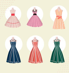 Old school clothes dresses from 80s vector image vector image