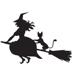 Witch and cat vector