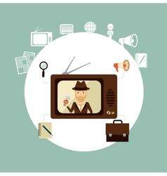 TV journalist acts in direct effire llustration vector image