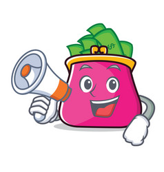 with megaphone purse character cartoon style vector image vector image