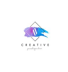 av artistic watercolor letter brush logo vector image