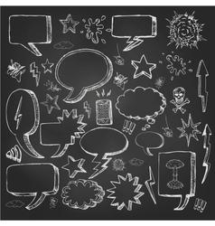 Speech bubbles doodles in black chalkboard vector image vector image