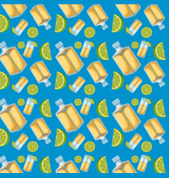 tequila bottles and lemon sliced pattern in blue vector image