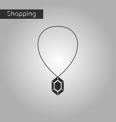 black and white style icon necklace with precious vector image