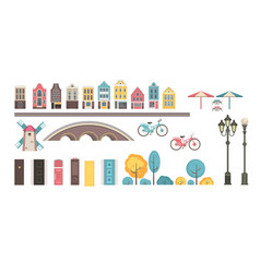collection of building elements vector image