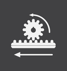 White icon on black background during gear vector