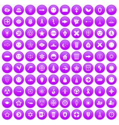 100 emblem icons set purple vector