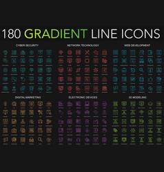 180 trendy gradient style thin line icons set of vector image