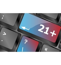 21 plus button on computer keyboard keys vector image
