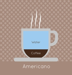 A cup of coffee with steam with water and american vector