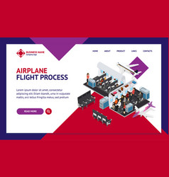 airplane interior elements with people landing web vector image