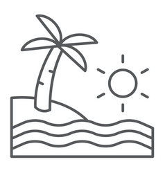beach thin line icon travel and vacation sea vector image