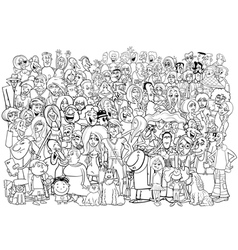 Black and white people crowd vector