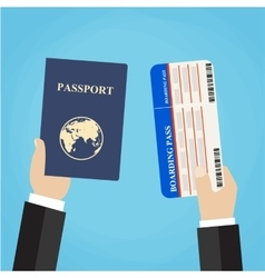 Boarding Pass and Passport in hands vector image